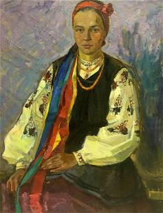 Oil painting Woman portrait Zhabinsky Leonid Andreevich