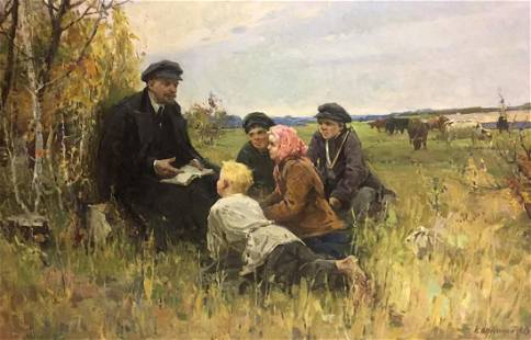 Oil painting Lenin among the people Klimanov Anatoly