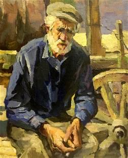 Oil painting Old man Vladimir School