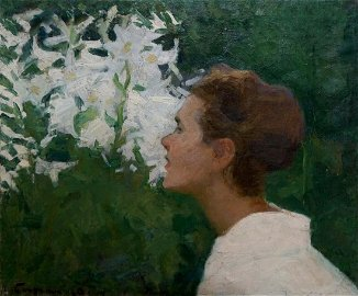 Oil painting In the garden Bozhiy Mikhail Mikhaylovich