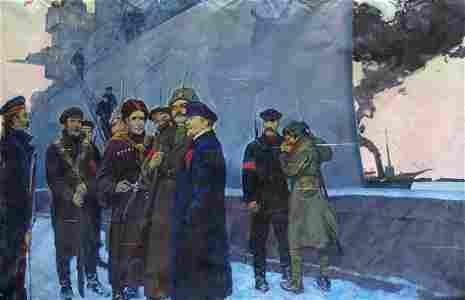 Oil painting Lenin with the sailors Pavlyuk Georgy