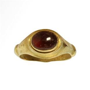Roman Gold Ring, Cabochon Garnet