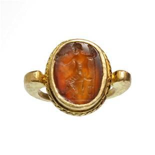 Roman Solid Gold Ring with Cornelian Intaglio Zeus