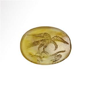 Roman Yellow Stone Intaglio with Eagle and Hare