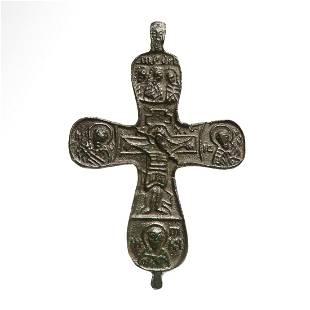 Byzantine Double-sided Bronze Cross, Crucifix, Saints