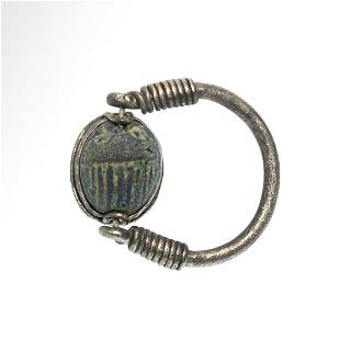 Phoenician Silver and Faience Scarab Swivel Ring