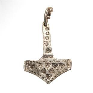 "Viking Silver ""Hammer of Thor"" or Mjölnir Pendant, c."