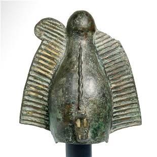 Large Bronze Egyptian Atef Crown, Half Life Size c. 600