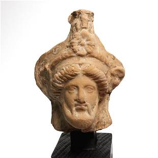 Greek Terracotta Head of a Bearded Man, Taranto, c. 4th