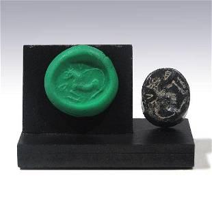 Greek Minoan Serpentine Seal with a Kretan Bull Late
