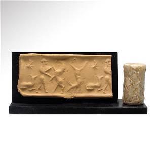 Akkadian Marble Cylinder Seal, Hero Contest, c.
