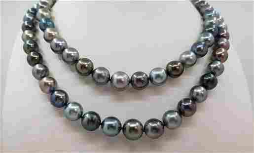 8.5x12mm Multi Tahitian Pearls - 14 kt. White gold -