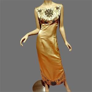 Vtg Silk Shantung maxi Hostess Gown Heavily Hand