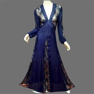 Vtg Black silk Floral Lace embellished Maxi gown
