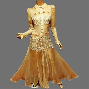 Edwardian silk Organza Maxi dress floral hand