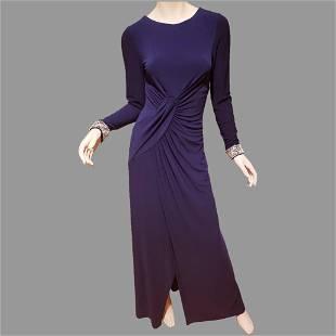Vtg Vince Camuto draped embellished maxi fluid dress