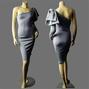 Vtg one shoulder Gray body con dress sculptural ribbon