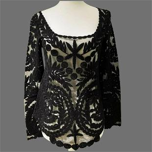 Vtg Black Soutache Guipure French lace on sheer Tulle
