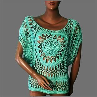 Vtg open Crochet Boho Top Dolman sleeves