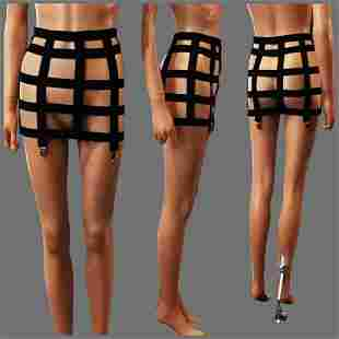 Vtg Cage Harness black Garter Belt black elastic Free