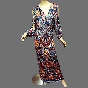 Vtg Asian Japanese Print Kimono Kaftan dress Maxi Wrap