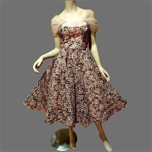 Vtg Ballerina Pink Ribbon Full sweep dress Bustier top