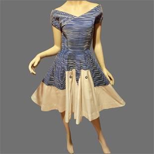 Vtg 1960's full circle dress blue/white raised stripe