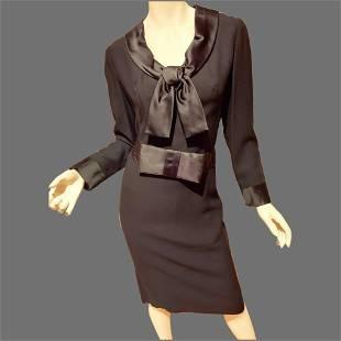 Vtg 1960's black shift Cocktail dress with belt & large