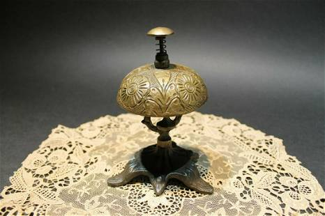 Victorian Brass Iron Hotel Front Desk Service Bell