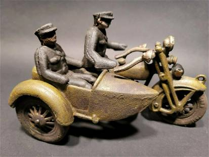 Cast Iron Toy Motorcycle Police Patrol w Side Car
