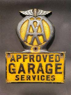 Cast Iron AAA Approved Garage Sign Plaque