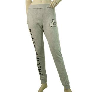 Philipp Plein Gray Black Logo Sweatpants trousers pants
