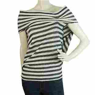 Roland Mouret Open Back Top Stripes Gray Beige Cotton