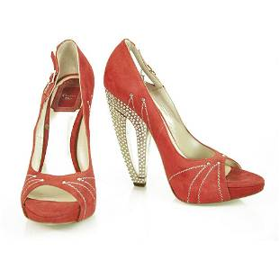 Christian Dior Red Suede Leather Peep Toe Pumps
