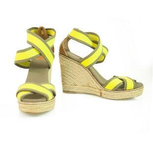 Tory Burch Adonis Yellow Elastic Strap Wedge Sandal