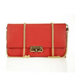 Michael Kors Cece Red Leather Long Gold Chain Clutch
