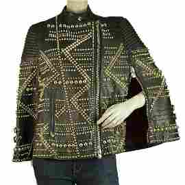 Philipp Plein Black Leather Cape / Jacket covered in