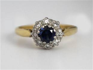 Cropp & Farr Sapphire & Diamond Cluster Ring