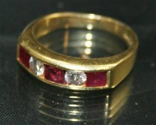 Ruby & Diamond Five Stone Band Ring