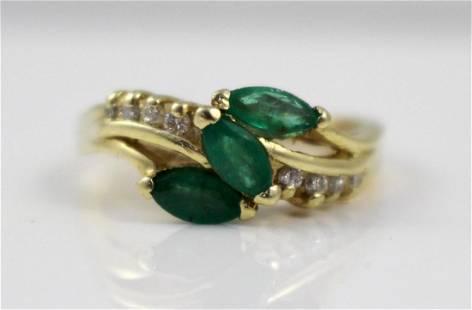 Three Stone Emerald & Diamond 14ct Ring