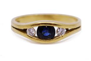 Three Stone Sapphire & Diamond 18ct Gold Ring
