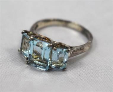 Three Stone Topaz Sterling Silver Ring