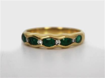 Emerald & Diamond 9 Stone 18ct Gold Ring
