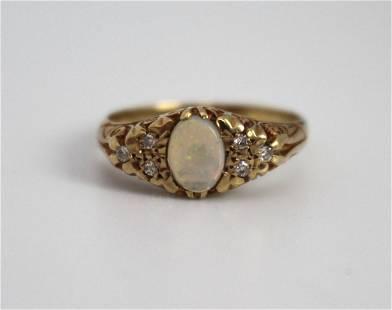 Opal & Diamond 9ct Gold Ring