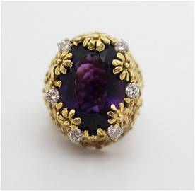 Amethyst & Diamond Fancy Openwork Flower Ring