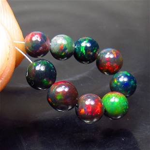 7.05 Ct Natural 9 Drilled Black Fire Opal Ball Beads