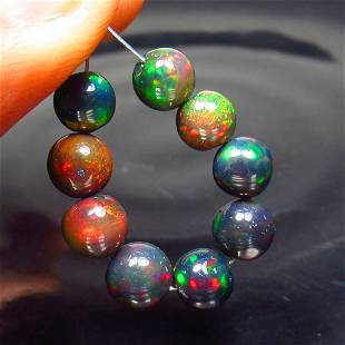 6.13 Ct Natural 9 Drilled Black Fire Opal Ball Beads