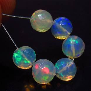 4.18 Ct Natural 6 Multi-Color Fire Opal Ball Beads
