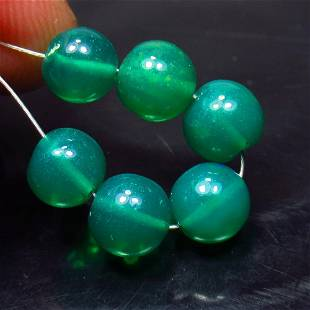 6.49 Ct Natural 6 Drilled Green Fire Opal Beads