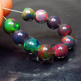 6.64 Ct Natural 10 Drilled Black Fire Opal Ball Beads